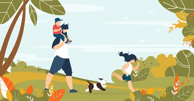 森で子供とペットと一緒に歩く父