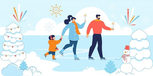 Счастливая семья празднует рождество на катке на открытом воздухе