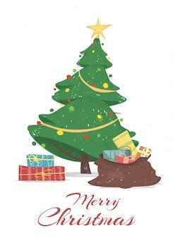 クリスマスツリーとメリークリスマスのグリーティングカード