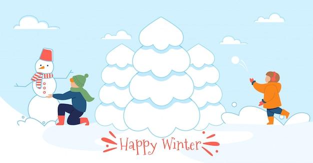 Счастливый зимний плоский плакат с игривыми детьми