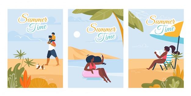 Летние текстовые открытки с набором расслабляющих людей