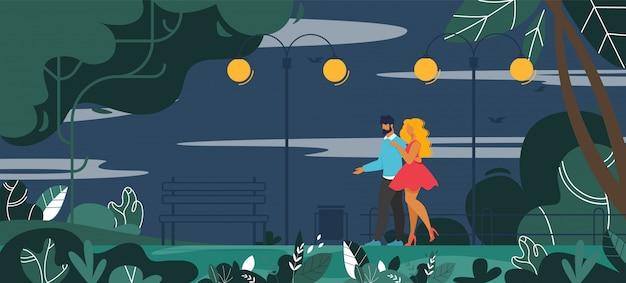 Мужчина и женщина влюбленная пара гуляет на вечернем баннере