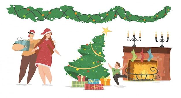 家族とのクリスマスの装飾