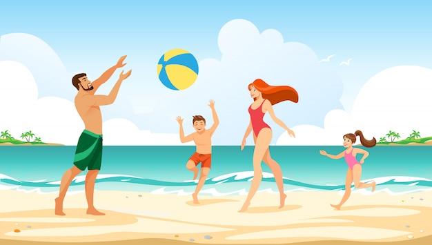 海で幸せな家族の夏休みレジャータイム