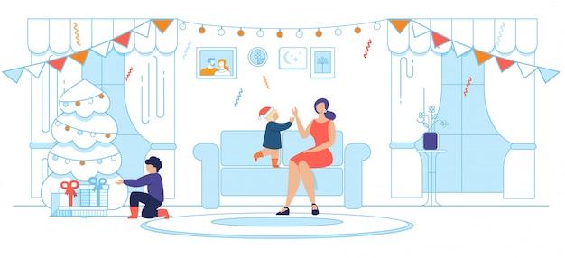 Счастливая мама с детьми и празднование рождества
