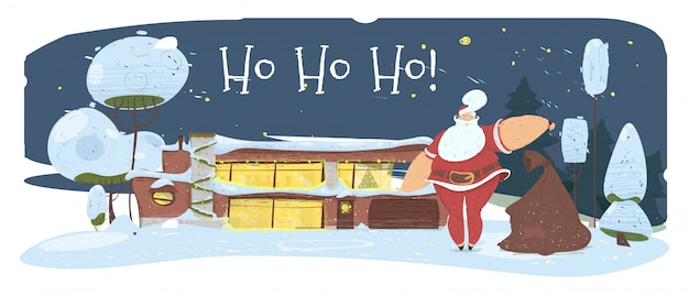 Волшебная ночь в канун рождества. дед мороз с сумкой