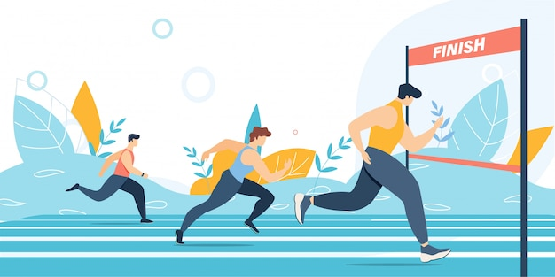 Бег на марафоне и финишная черта