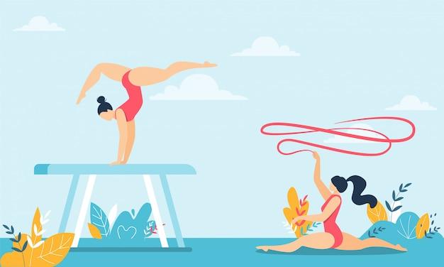 体操選手がリボンアクロバットトリックを行うとひもに座る
