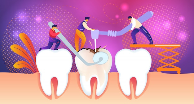 男性は巨大な不健康な歯を虫歯の穴で治療します。