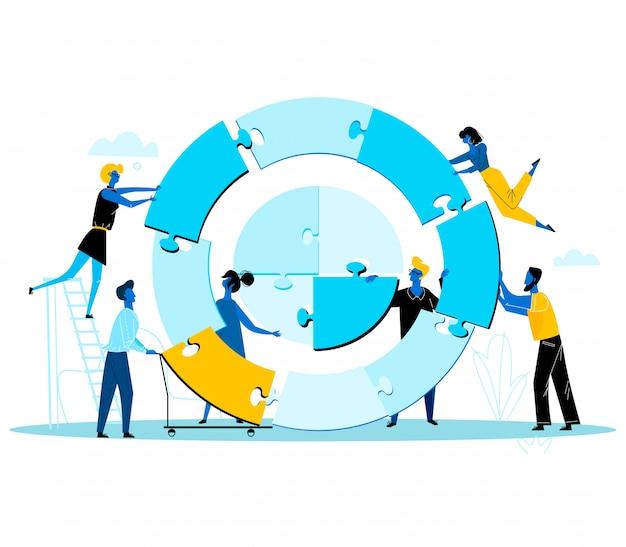 Деловые люди вместе строят огромную круглую головоломку, разделенную на кусочки
