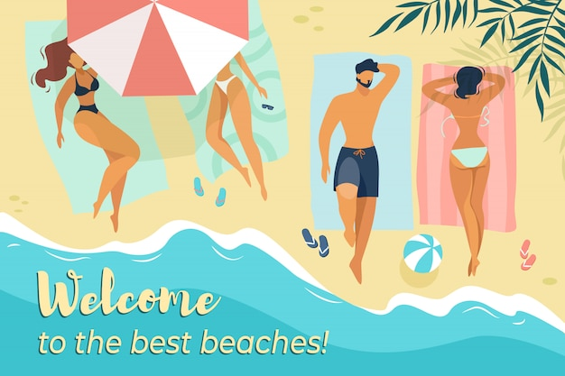 Добро пожаловать на лучший пляж, горизонтальный баннер, молодые мужские и женские персонажи, отдыхающие под солнцем