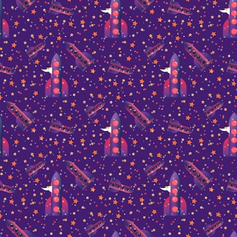ロケットとランダムに配置された星の上を飛ぶ準備をしている人とのシームレスなパターン