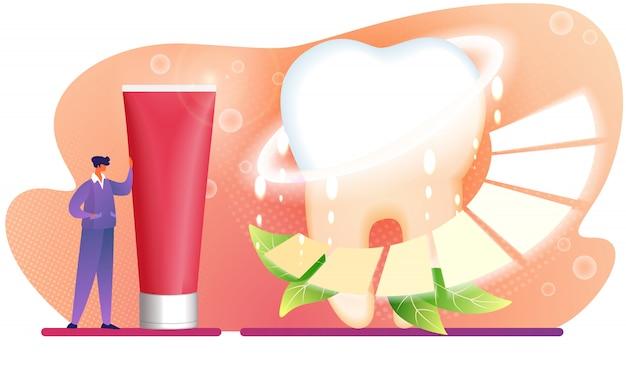 巨大な赤い歯磨き粉チューブの近くに男のキャラクターが立ちます。