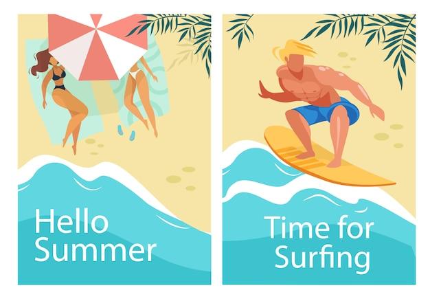 Привет, лето и время для серфинга набор вертикальных баннеров