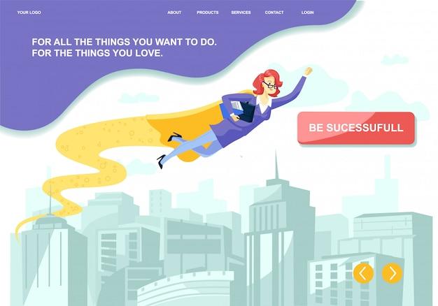 ビジネスの成功を高めるための動機を持つメタファーフラットランディング。都市の上の英雄岬ハエの漫画スーパー実業家