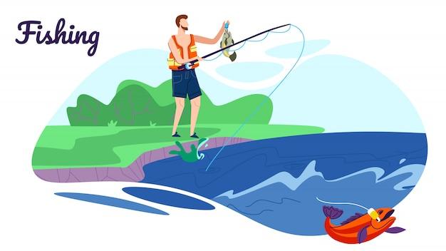 海岸にロッドと漁師スタンド良いキャッチイラストがあります。
