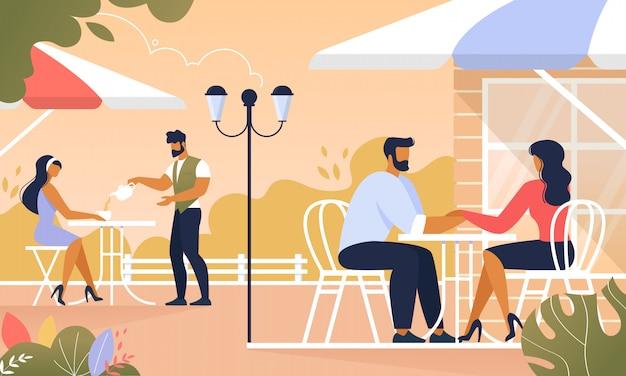 夏のカフェの屋外でリラックスした人々、リラックス