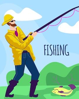 湖の海岸にロッドを持つ黄色のマントの漁師