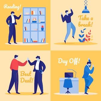 Набор радостных менеджеров в офисе. счастливые коллеги