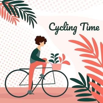 Молодой человек езда на велосипеде с цветами в корзине