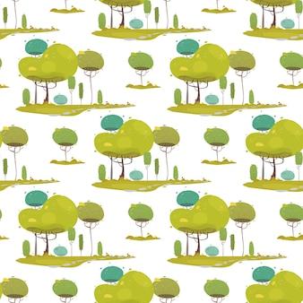 緑の木々とウッドランドクラフトシームレスパターン