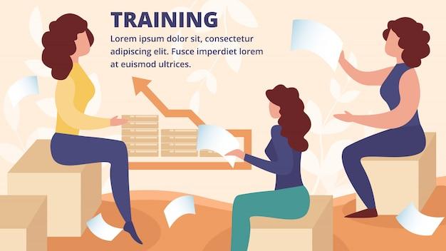 Обсуждение деловых женщин на корпоративном тренинге