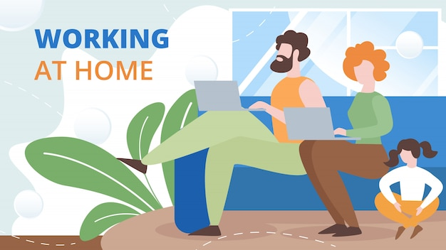 自宅で働くフリーランサーフラットベクトル概念