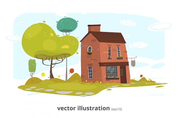 石の村またはレンガの農場の家の図