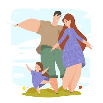Мать, отец и дочь машут руками в парке