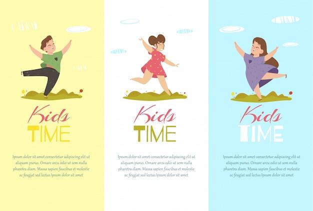Дети время вертикальные баннеры набор. креативные шаблоны