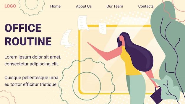 紙のドキュメントのランディングページテンプレートを投げる若いビジネス女性