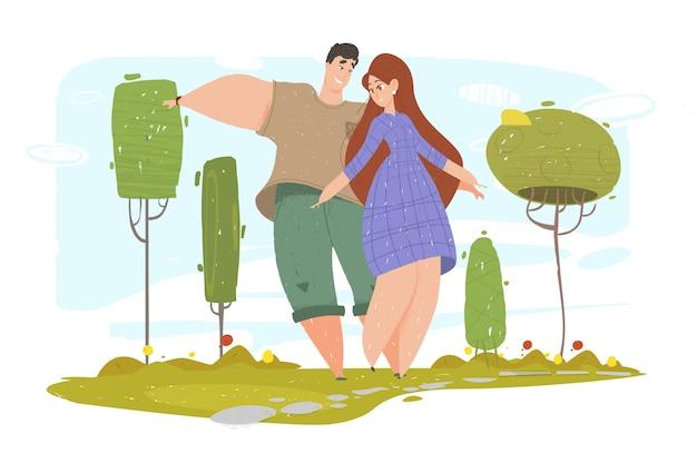 Летнее время сезона отдыха, счастливая пара прогулки