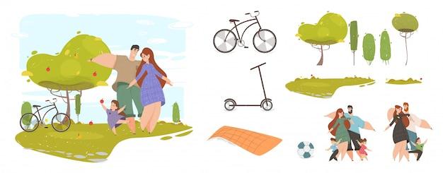 創造のための公園セットで幸せな家族の子供たち