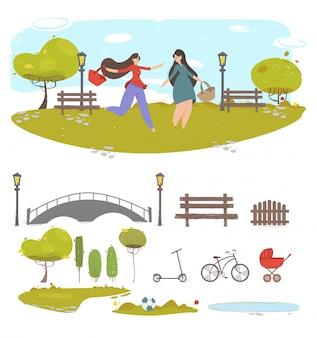 夏の都市公園、作成の要素のセットを歩いてカップルガールフレンド
