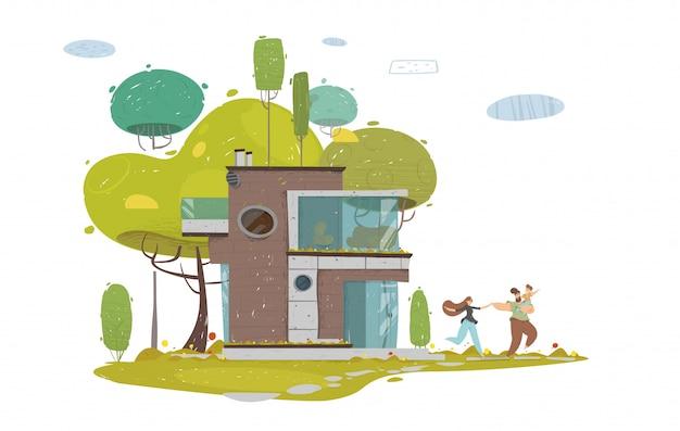 Счастливая семья гуляет на свежем воздухе во дворе дома или в парке