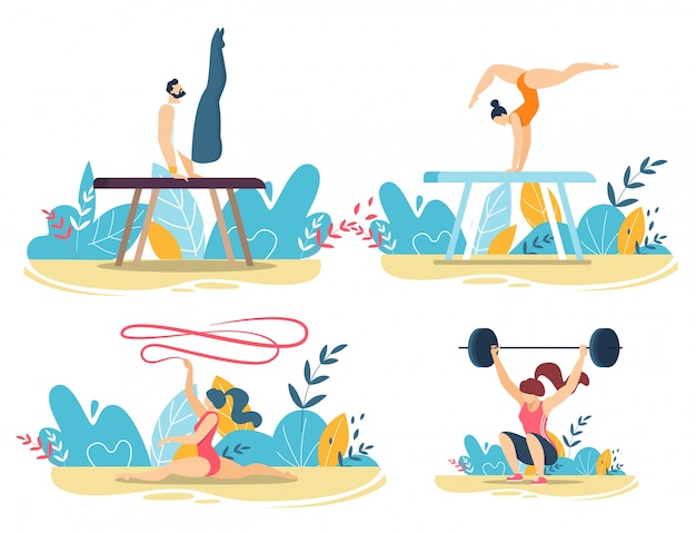 Спортивные люди делают трюки с комплектом тренажеров