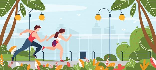 Мужчина и женщина занимаются фитнесом бег в парке баннер