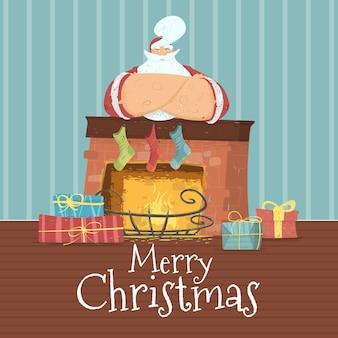 衣装を着たサンタクロースとメリークリスマスカード