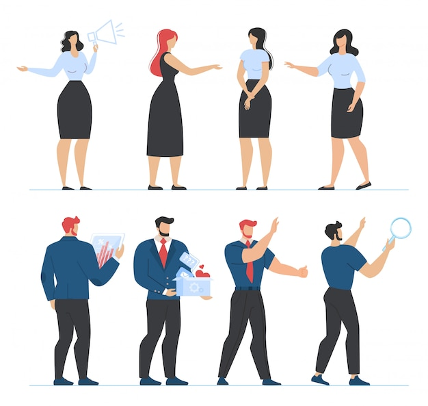 Плоский набор мужских и женских офисных персонажей