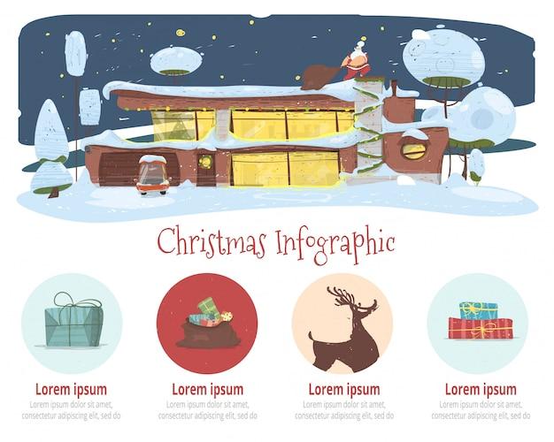 クリスマスインフォグラフィック漫画ベクトルバナー