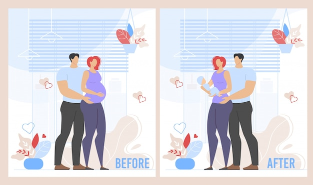 Мультипликация до и после родов