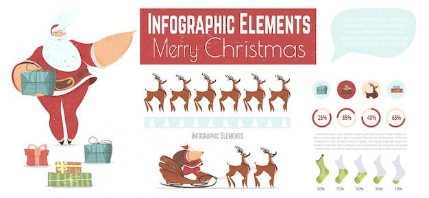 クリスマス漫画ベクトルインフォグラフィック要素セット