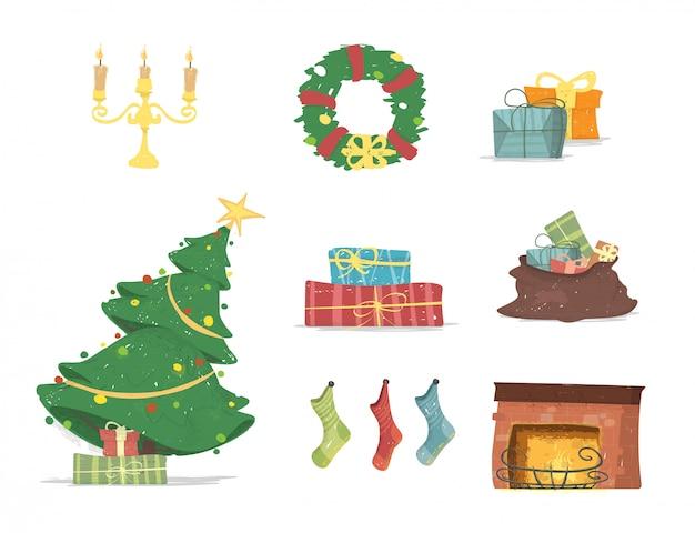 メリークリスマスカードのデザイン要素セット