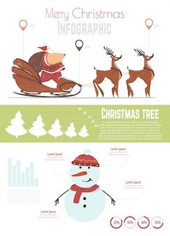 クリスマスのお祝いのインフォグラフィックテンプレート