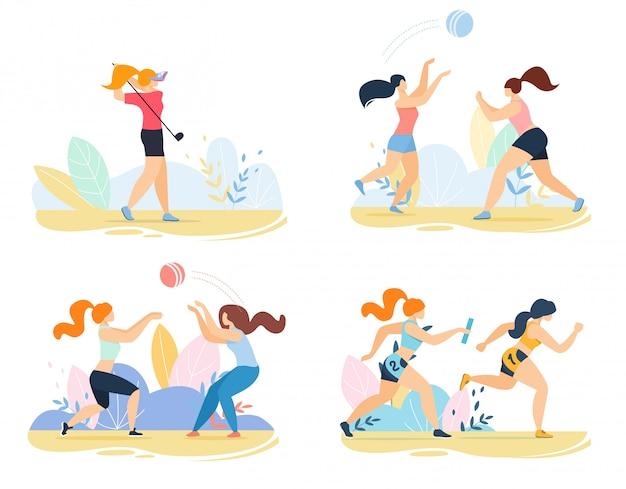 女性キャラクターとスポーツアウトドアアクティビティセット