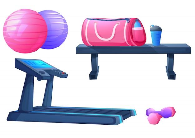 フィットネス演習用のスポーツ用品のセット