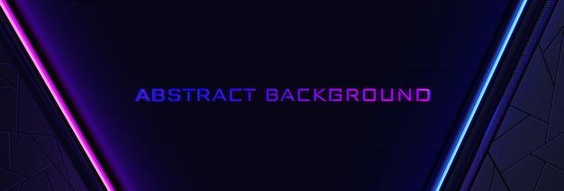 青とピンクの光のラインとテクスチャの抽象的なネオンの背景。