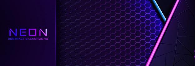 紫色の光、ライン、テクスチャと抽象的なネオンの背景。暗い夜の色のバナー
