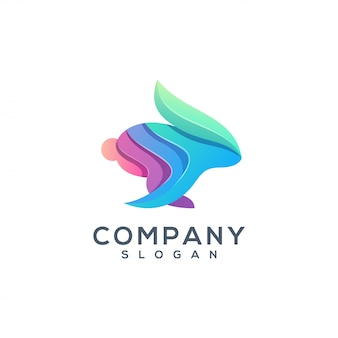 Кролик красочный дизайн логотипа