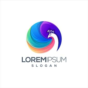 素晴らしい孔雀のロゴデザインベクトル